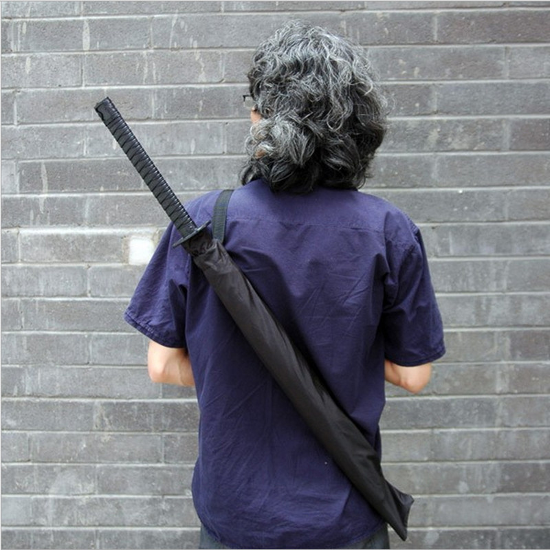 Large Windproof Ninja like Japanese Samurai Sword Long handle Rain Sun Straight Umbrella Men & Women 8 / 16 / 24 Ribs Black
