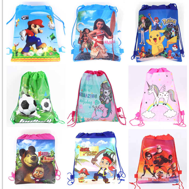 1pc Cartoon School Bag for Boy,Girl Mario,Football, Avengers Drawstring School Backpack Birthday Gift Bag Student book bag(China)