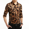 2016 Spring Autumn New Fashion Leopard shirt Men Long Sleeve Leopard Print Shirts Men Plus size 3XL 4XL 5XL High Quality 15OFF