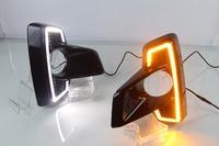 Qirun СИД drl дневного света для Toyota hilux 2018 с динамическим движущимся желтый сигнал поворота