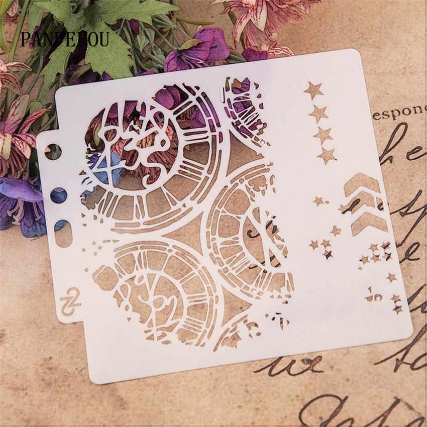 Đồng hồ đường băng sổ lưu niệm stencils phun khuôn nhựa lá chắn TỰ LÀM bánh rỗng Chỉnh Trang in ấn ren thước valentine