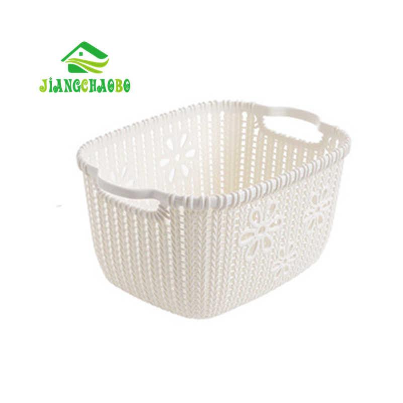 JiangChaoBo Imitação Rattan Cesta De Armazenamento Cesta de Armazenamento De Mesa De Plástico Oco de Cozinha Lanche Caixa de Armazenamento Cesta do Brinquedo