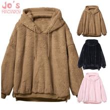 hot deal buy 2019 women hoodies sweatshirts winter warm hooded tops loose soft cute coat harajuku ladies basic kawaii pullover sweatshirts