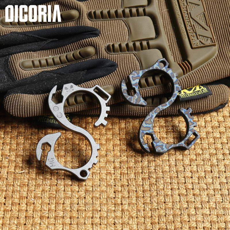 DIOCRIA Titanium Anodizing outdoor gear camping bottle opener EDC Multifunction hand tools hook Wrenches Combination Multi tool edc gear kpq 02 ti titanium creative horse edc tool yellow beer opener bottle cooking tools