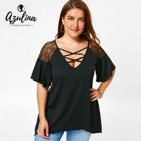 AZULINA Plus Size Criss Cross Drop Shoulder Tunic T Shirt V Neck Ruffles Flare Sleeve Casual