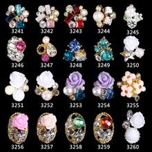 200個合金3dネイルアートローズ花ジュエリー爪クリスタルラインストーン弓花バラ爪の装飾アクセサリー