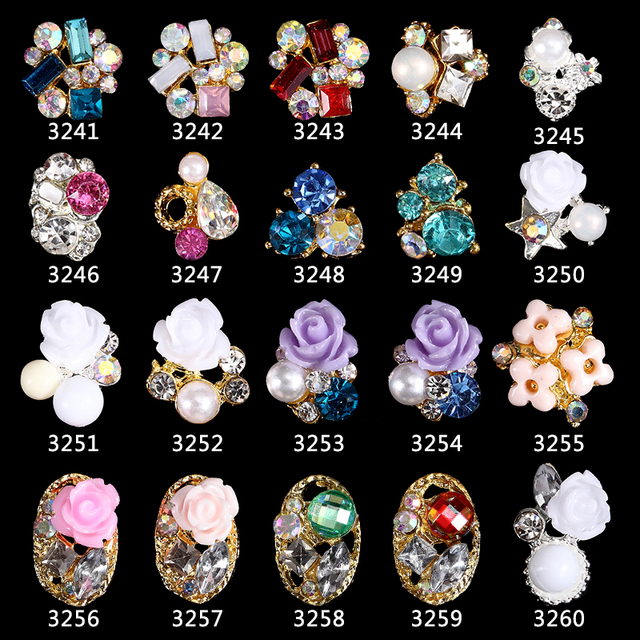 200pcs alloy 3d nail art rose flowers jewelry nails crystal rhinestones Bows Flowers Roses nails decorations accessories