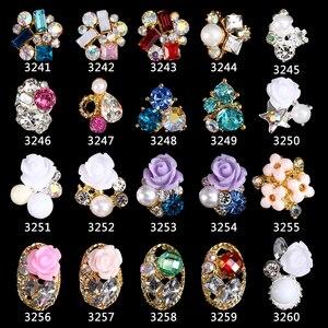 Image 1 - 200pcs della lega 3d di arte del chiodo di rosa fiori nails monili di cristallo strass Archi Fiori rose unghie decorazioni accessori