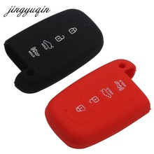 Jingyuqin 4 кнопки силиконовый чехол для ключей для Hyundai Elantra Соната Veloster для Kia Soul Sportage автомобиля дистанционного смарт-Брелок Обложка