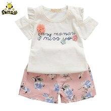 Baby Girl Clothes Summer Off Shoulder T-shirt+ Floral Shorts Children Clothes Little Girl Kids Outfits Fashion Sport Suit Set стоимость