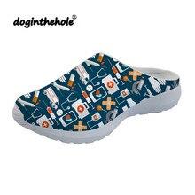 Doginthehole/повседневные женские дышащие сандалии; женская летняя пляжная обувь с принтом медсестры; сетчатые шлепанцы для подростков