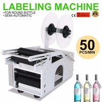 Adhensive Printer With Round Electrical MT 50 Semi Automatic Bottle Labeling Machine