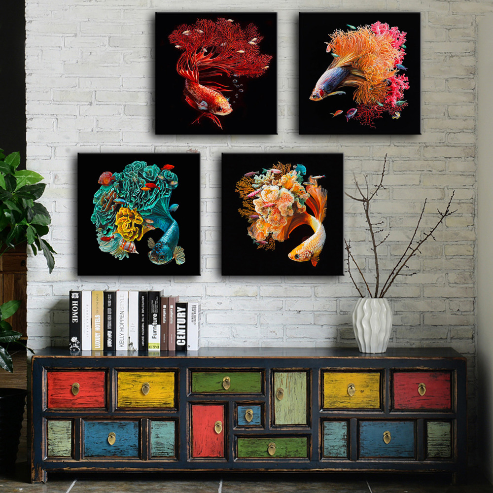 online get cheap fantastic painting aliexpress com alibaba group hd oil painting fantastic fish decoration painting home decor on canvas modern wall art canvas print