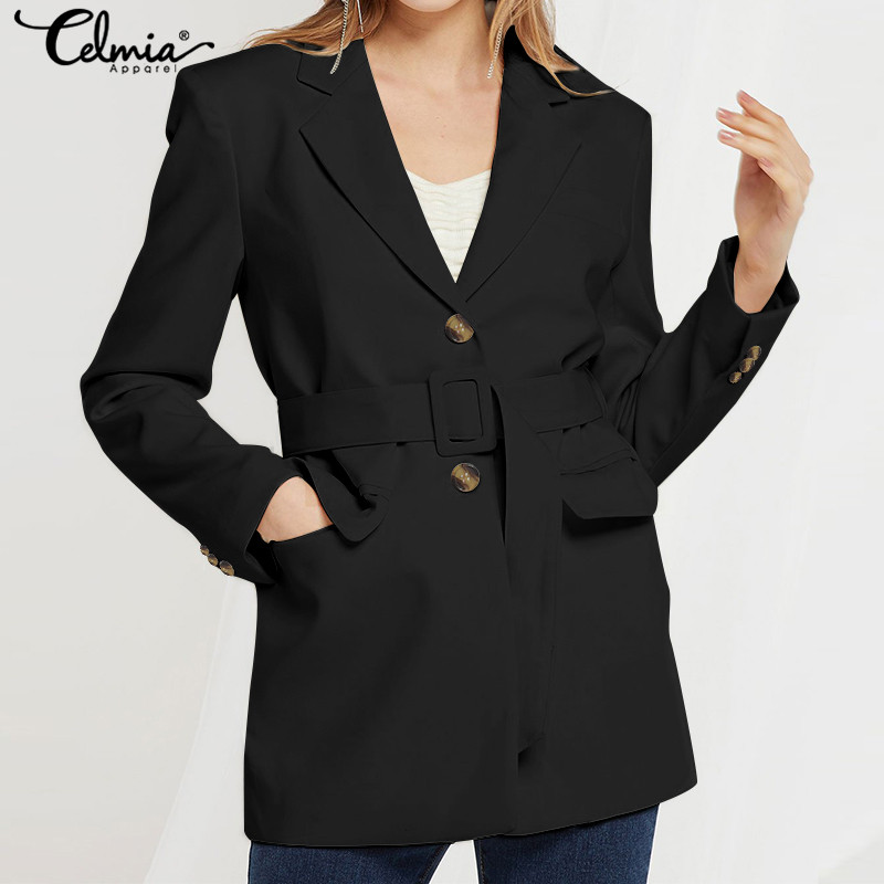 Vintage Casual Long Sleeve Solid Blazer Coat Celmia 2019 Autumn Women Pleated Sexy Lapel Jackets Elegant OL Coats Female Blazers