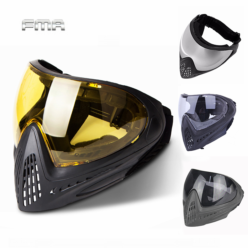 FMA F1 Outdoor Paintball Mask Airsoft Safety Protective Anti-fog Goggle Full Face Mask With Black/Reflective/Yellow/Clean Lens