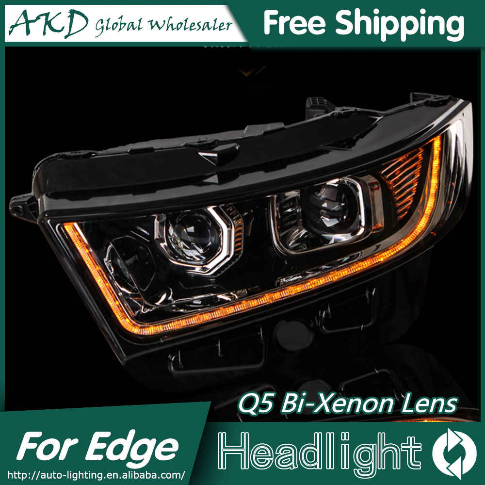 Aliexpress com buy akd car styling for ford edge headlights 2015 2016 new edge led headlight led drl bi xenon lens high low beam parking from reliable led