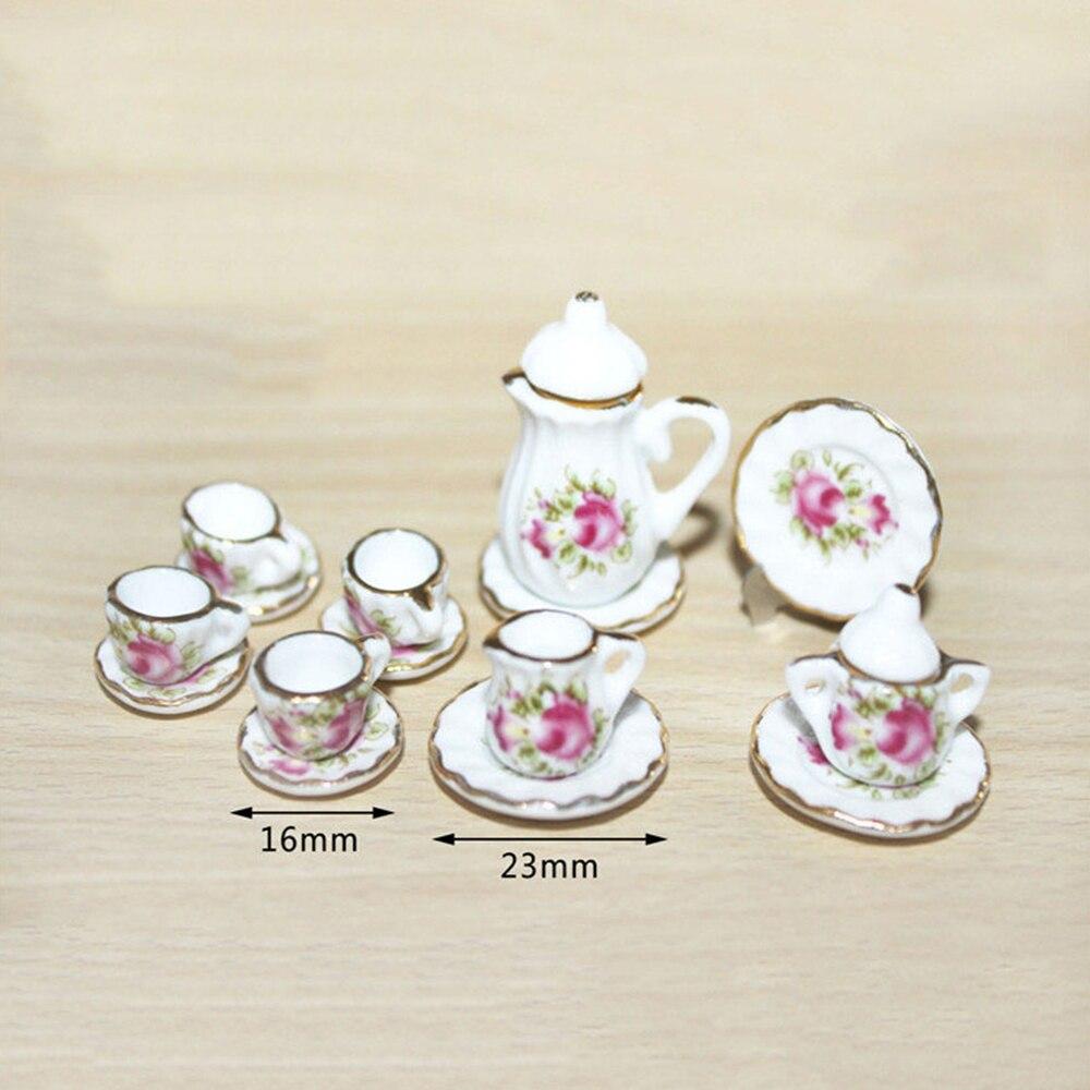 1/12 Dollhouse Miniature Accessories Mini Ceramic Tea Set   Simulation  Kettle Cup Plate Model Toys For Doll House Decoration