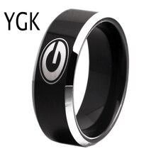 Бесплатная доставка таможни гравировка кольцо Лидер продаж 8 мм Черный с блестящей края Грузия бульдоги основной Дизайн Вольфрам обручальное кольцо