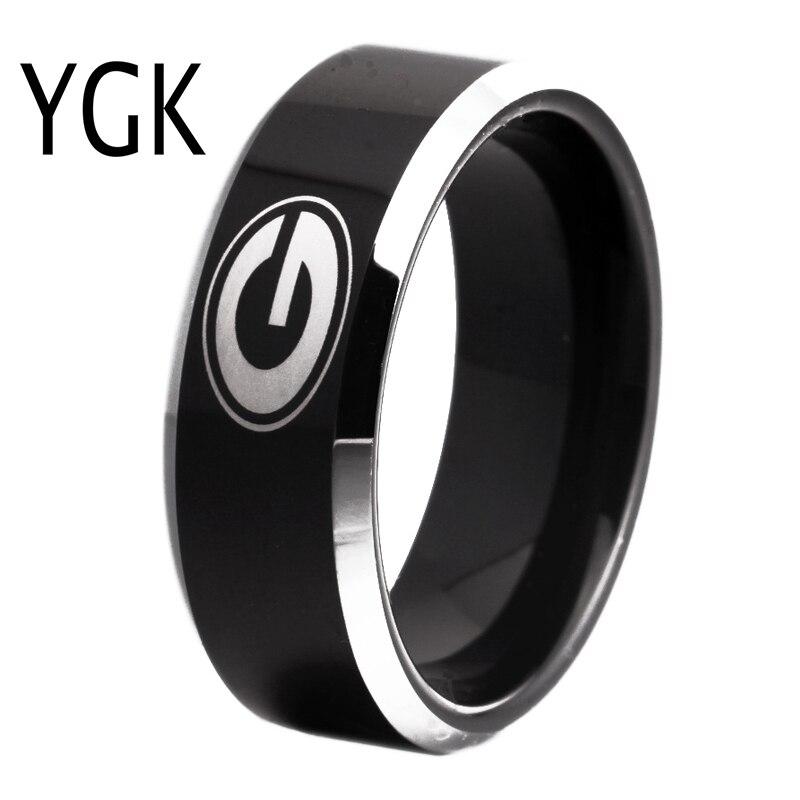 Freies Verschiffen Gewohnheiten Gravur Ring Heiße Verkäufe 8mm Schwarz Mit Glänzenden Kanten Georgia Bulldogs Primäre Design Wolfram Hochzeit Ring
