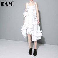 EAM 2017 New Summer Irregular Multilayer Ruffles Solid Color Loose Fashion Sexy Dress Women Trendy