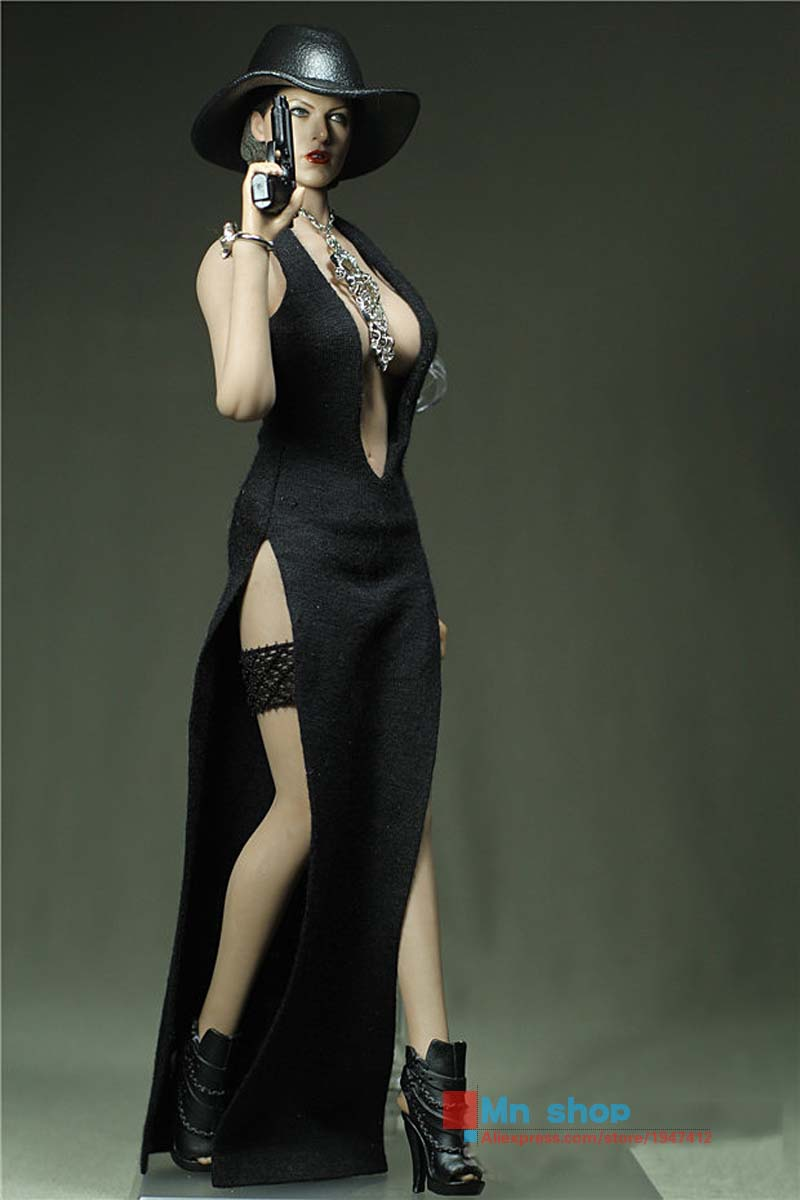 ФОТО Sexy PHICEN Dress Custom 1/6 Spy Girl Black Low-neck Slited Dress for Female Seamless Body Large/Medium Bust PHICEN Doll Toy P45