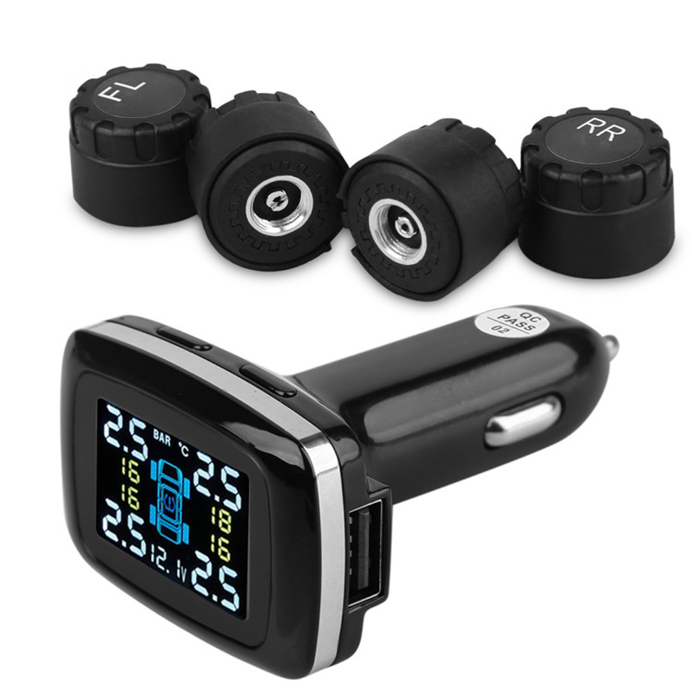 VODOOL 12V Digital Tire Pressure Monitor System Car Cigarette Lighter with 4 External Sensors Smart Car