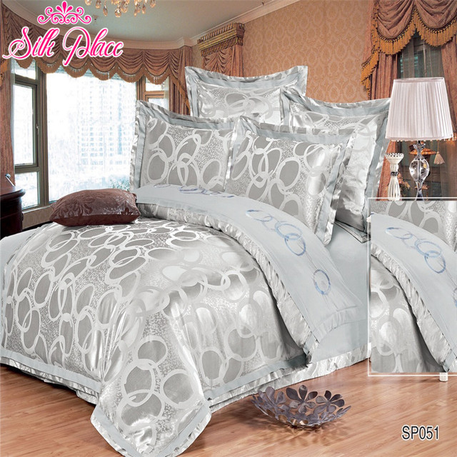 """Silk Place"" Quality Bedding Set Satin Jacquard Duvet Cover Bed sheet Pillowcases Twin Full Queen"