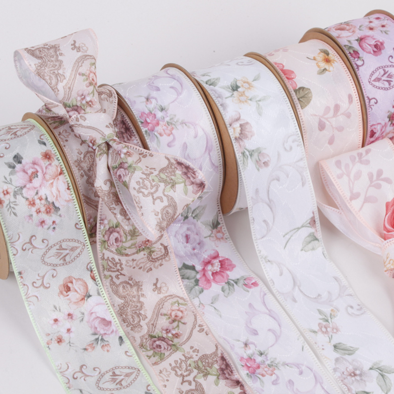 10Yards/Roll High Quality 40mm Flower Printed Satin Ribbons DIY Handmade Crafts Material Christmas Wedding Party Gift Wrapping