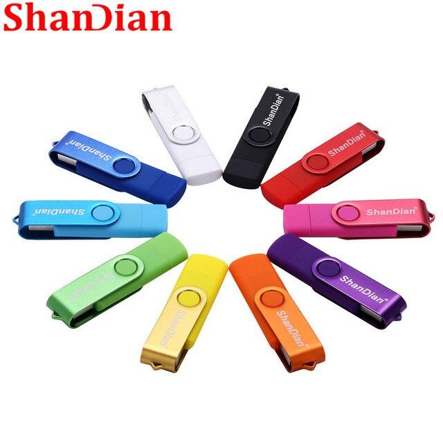 SHANDIAN ổ đĩa flash USB OTG ổ đĩa Tốc Độ cao 64 GB 32 GB 16 GB 8 GB 4 GB lưu trữ bên ngoài đôi Ứng Dụng Micro USB Stick