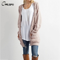 CWLSP Casual Long Sleeve Computer Knitted Autumn Women Long Sweater Open Stitch Solid Pockets Female Cardigan