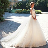 Bridal Dress Wedding Dress Brautkleid Spitze Half Sleeve Models Lace Applique With Pearls Sashes Marriage 2017