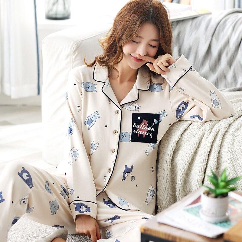 Cotton   Pajamas   Women Cute Cartoon Pijamas Women   Pajama     Sets   Casual Ladies Sleepwear Pijamas Mujer Pyjamas Women Big Yard M-3XL