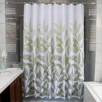 modern Wave waterproof mildew thickening green leaves polyester cloth heavier sinker hook bathroom shower curtain M538