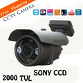 "2000tvl hd impermeable al aire libre cámara cctv 1/3 ""sony ccd 2 unids matriz de led ir 80 metro survillance cámara de seguridad"