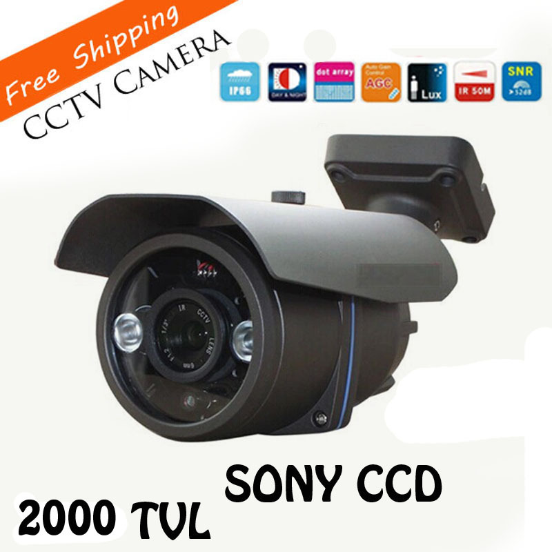 HD 2000TVL Outdoor Waterproof CCTV Camera 1/3 SONY CCD 2 Pcs Array Led IR 80 Meter Survillance Security Camera cctv camera waterproof outdoor housing array led light cctv camera aluminium alloy metal case cover