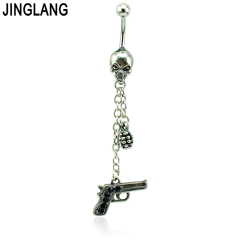 JINGLANG Tubuh Navel Piercing Mode Belly Button Rings Bedah Baja Tengkorak Barbel Berlian Imitasi Gun Navel Rings Perhiasan