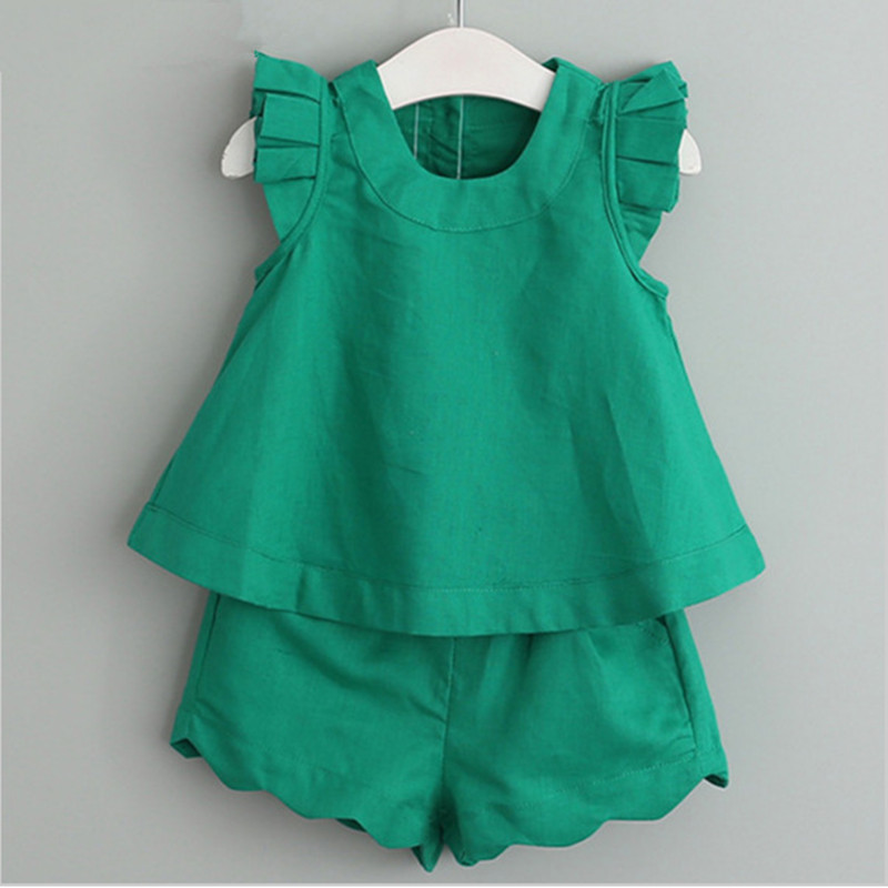2019 Child Lady Garments Units New Spring And Summer season O-Neck Sleeveless T-Shirt+Pants 2 Pcs Children Garments Set Kids Clothes 3-7Y Clothes Units, Low cost Clothes Units, 2019 Child...