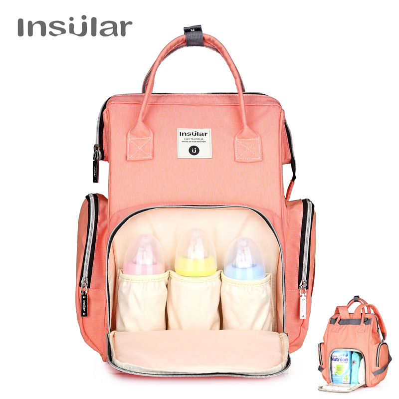 Insular Stroller Bag for Mom Brand Waterproof Baby Diaper Bag Backpack Mummy Maternity Nappy Bag with Wet Tissue Box 8 Colors cute baby protable nappy reusable washable wet dry cloth zipper waterproof diaper storage bag random colors
