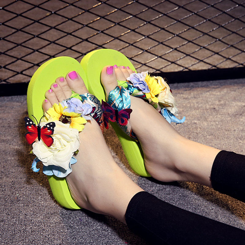 Women Shoes Flip Flops Beach Slippers With Butterfly Flowers Wedges Cool Sipper girl shoes in sri lanka
