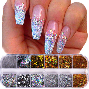 1Case Nail Glitter Powder Dust Iridescent Flakies Sequins Gold Silver Super Shining