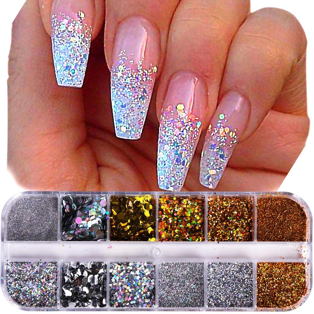 Nail Art Kuning: 1Case Nail Glitter Powder Dust Iridescent Flakies Sequins