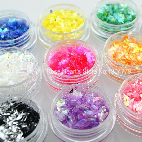 12 Barvy Nehty Glitter Ice Mylar Shell Fólie Papír Nail Art - Manikúra