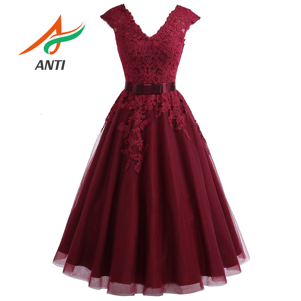ANTI Cheap Tea Length Burgundy Homecoming Dress 2019 Short V Neck Lace Homecoming Dress Cap Sleeves Plus Graduation Dress Gown