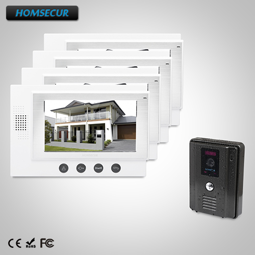 HOMSECUR 7 Wired Video Door Phone Intercom System Electric Lock Supported 1C4M: TC011-B Camera (Black)+TM701-W Monitor (White)