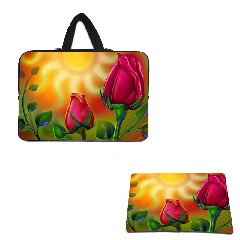 10 Tablet 10.1 11.6 12 13.3 14 15.4 15.6 Nylon Laptop Shell Case Pouch Bag Cover Notebook Bags For Women + Rosebud Mouse Pad