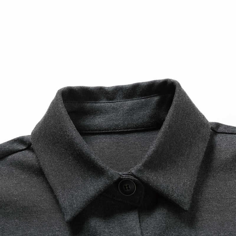 [EAM] 2019 nowa wiosna Lapel długim rękawem szary luźne długi nieregularny Hem kieszeń Stitch kurtka kobiety płaszcz moda fala JH668