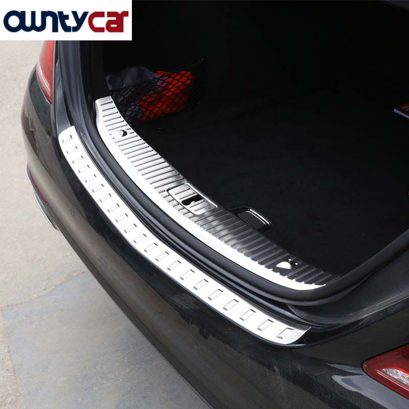 For <font><b>Mercedes</b></font> Benz <font><b>S</b></font> <font><b>Class</b></font> <font><b>W222</b></font> S320 S400 2014-2017 Stainless Rear Bumper Inner/outside Sill Plate Threshold Protector Cover image