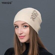 YHKGG sombrero femenino lana mujeres Rhinestone 2018 de alta calidad nuevo  invierno de punto Beanie Cap 32dd9c2101c5