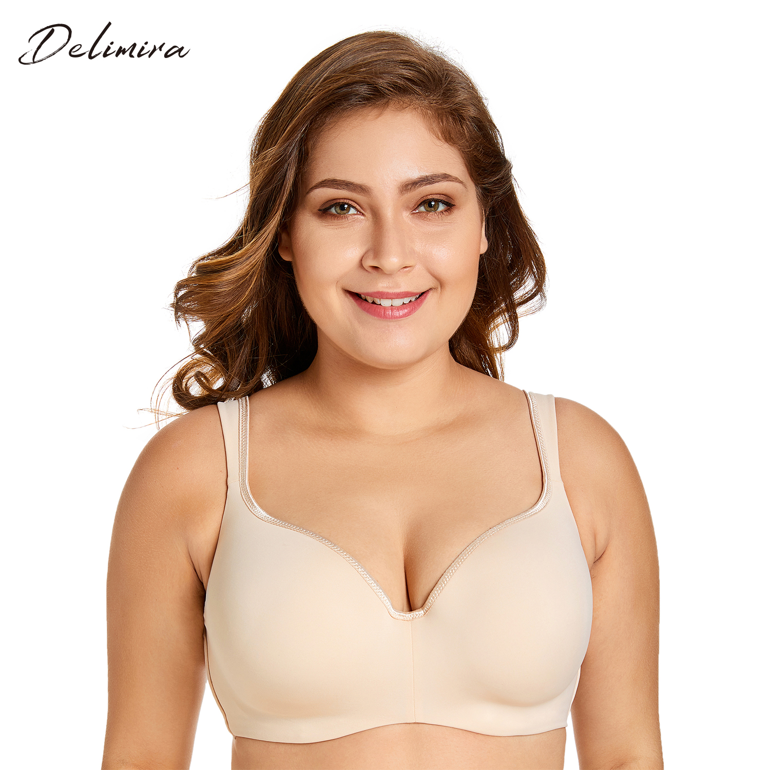 Delimira Women's Smooth Full Coverage Big Size T-Shirt Bra