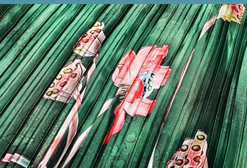 Mignon grande taille robes d'été femmes émeraude grande taille 6xl Rinkled plissée Satin robe à fleurs vert longue robe Maxi Vestido Largo - 5